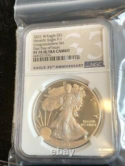 2021 W $1 Silver Eagle Congratulation Set First Day Of Issue Ngc Pf70