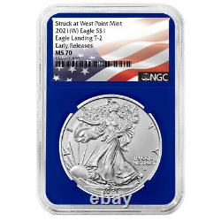 2021 (W) $1 Type 2 American Silver Eagle 3 pc Set NGC MS70 ER Flag Label Red Whi