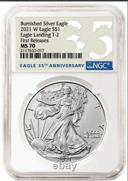 2021 W Burnished American Silver Eagle Type 2 NGC MS 70 FIRST RELEASES PRESALE