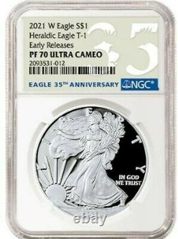 2021 W Silver American Eagle S$1 Heraldic Type 1 Ngc Pf70 Er Ucameo 35th Anniv