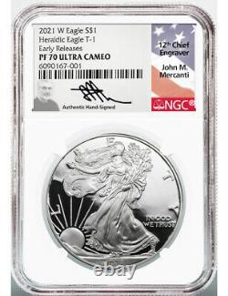 2021-W Silver Eagle Heraldic Eagle T-1 ER NGC PF70 Ultra Cameo Mercanti