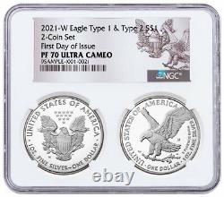 2pc 2021 W Proof American Silver Eagle Type 2 & Type 1 NGC PF70 UC FDI