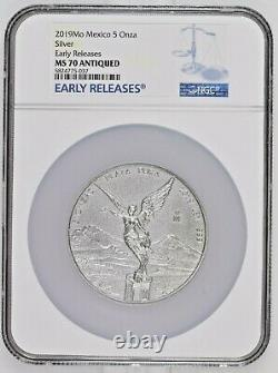 ANTIQUE LIBERTAD MEXICO 2019 5 oz Silver Coin NGC MS 70 EARLY RELEASES ER
