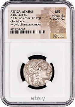 Attica Athens Greek Owl Silver Tetradrachm Coin (440-404 BC) NGC MS 4/5 5/5