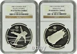 Canada 1985-1987 Set 10 Silver Coins Calgary Olympic Winter Games NGC PF66-68