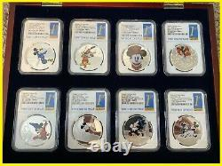 DISNEY Mickey Donald 8 SILVER coins complete SET NGC PF 70 UC 1st R MINT BOX COA