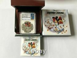 DISNEY Mickey Donald 9 SILVER coins complete SET NGC PF 70 UC ER+FR MINT BOX COA
