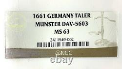 German State Munster (City View) 1661 Taler Coin Thaler NGC MS63 F. STG/STG UNC