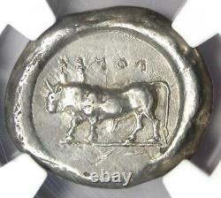 Greek Lucania Poseidonia AR Stater Silver Bull Coin 470-420 BC NGC Choice VF