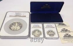 Haiti 1967 Set 3 Silver Coins Piedfort Anniversary of Revolution NGC PF65-67 COA