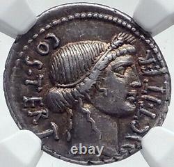 JULIUS CAESAR Authentic 46BC Ancient Silver Roman Coin THAPSUS BATTLE NGC i81521