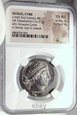 KYME in AEOLIS Ancient 155BC Silver Greek TETRADRACHM Coin AMAZON NGC AU i82353