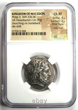 Philip II AR Tetradrachm Zeus Silver Coin 359-336 BC NGC Ch XF with Fine Style