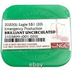 Presale 20 2020 (S) $1 American Silver Eagle NGC GEM BU Emergency Production