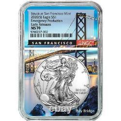 Presale 2020 (S) $1 American Silver Eagle NGC MS70 Emergency Production ER San