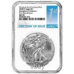 Presale 2020 (S) $1 American Silver Eagle NGC MS70 Emergency Production FDI Fi