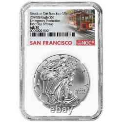 Presale 2020 (S) $1 American Silver Eagle NGC MS70 Emergency Production FDI Tr