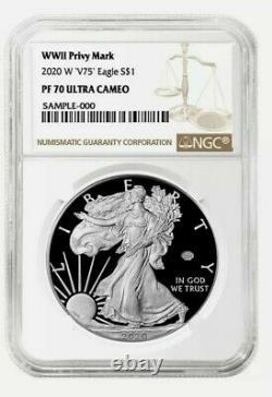 Presale 2020 W V75 1 American Silver Eagle WW II 2 75th NGC PF70 Brown Label