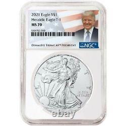 Presale 2021 $1 American Silver Eagle 3pc. Set NGC MS70 Trump Label Red White