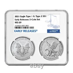 Presale 2021 $1 Type 1 and Type 2 Silver Eagle Set NGC MS69 Blue ER Label
