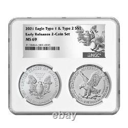 Presale 2021 $1 Type 1 and Type 2 Silver Eagle Set NGC MS69 ER T1 T2 Label