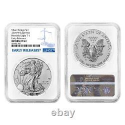 Presale 2021 Reverse Proof American Silver Eagle Designer 2pc Set NGC PF69 ER