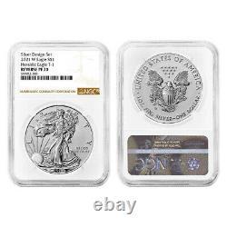 Presale 2021 Reverse Proof American Silver Eagle Designer 2pc Set NGC PF70 Bro