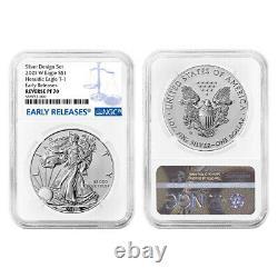 Presale 2021 Reverse Proof American Silver Eagle Designer 2pc Set NGC PF70 ER