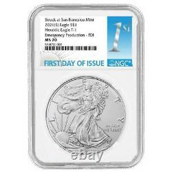 Presale 2021 (S) $1 American Silver Eagle NGC MS70 Emergency Production FDI Fi