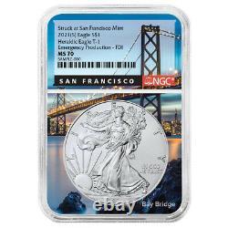 Presale 2021 (S) $1 American Silver Eagle NGC MS70 Emergency Production FDI Sa