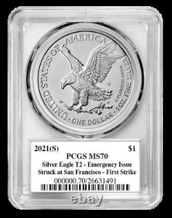 Presale 2021 (S) T2 Silver Eagle PCGS MS70 FS Emergency Issue Emily Damstra