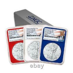 Presale 2021 (W) $1 American Silver Eagle 3pc. Set NGC MS70 Trump ER Label Red