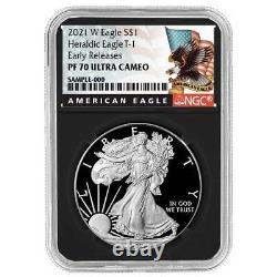 Presale 2021-W Proof $1 American Silver Eagle NGC PF70UC Black ER Label Retro