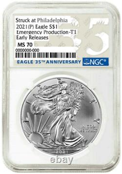 Presale 2021 (p) $1 American Silver Eagle Ngc Ms70 Emergency Early Releases