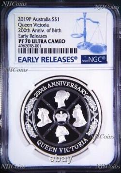 Queen Victoria 200th Anniversary 2019 1oz Silver Proof $1 Coin NGC PF 70 ER