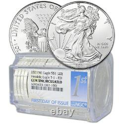 Roll of 20 2021 (W) American Silver Eagle NGC Gem Uncirculated First Day Issue