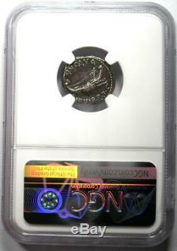 Roman Marc Antony AR Denarius Silver Galley Coin 30 BC NGC AU Rare Grade