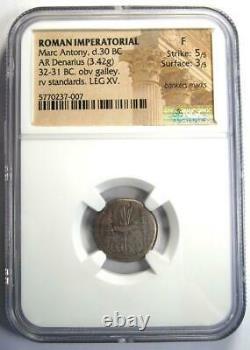 Roman Marc Antony AR Denarius Silver Galley Coin 32 BC Certified NGC Fine