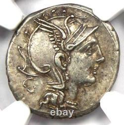 Roman Republic T. Ma. Mancius AR Denarius Coin 111 BC Certified NGC Choice XF